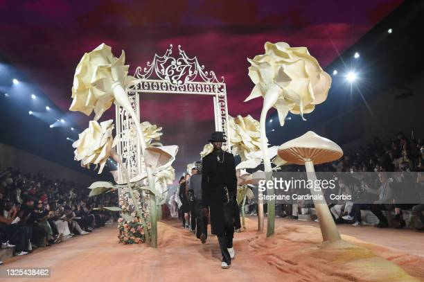 Models walk the runway during the Dior Homme Menswear Spring Summer 2022 show as part of Paris Fashion Week on June 25, 2021 in Paris, France.