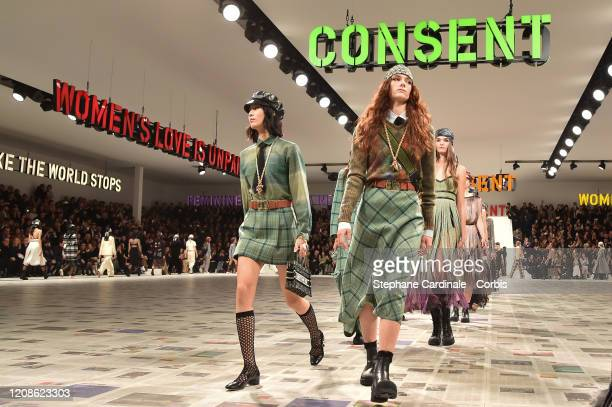 Models walk the runway during the Dior show as part of the Paris Fashion Week Womenswear Fall/Winter 2020/2021 on February 25, 2020 in Paris, France.