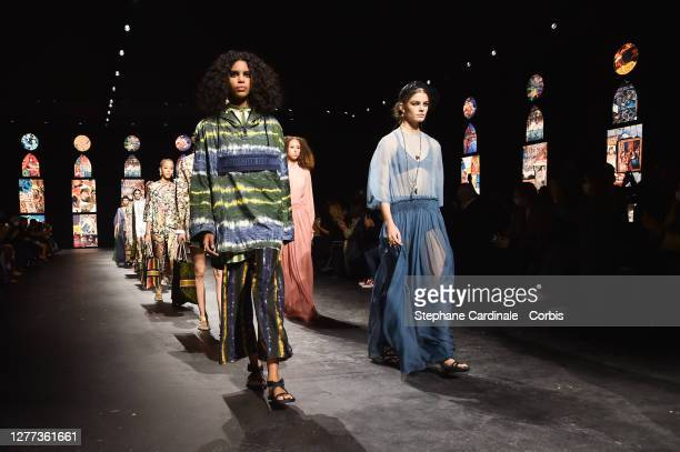 Models walk the runway during the Dior Womenswear Spring/Summer 2021 show as part of Paris Fashion Week on September 29, 2020 in Paris, France.