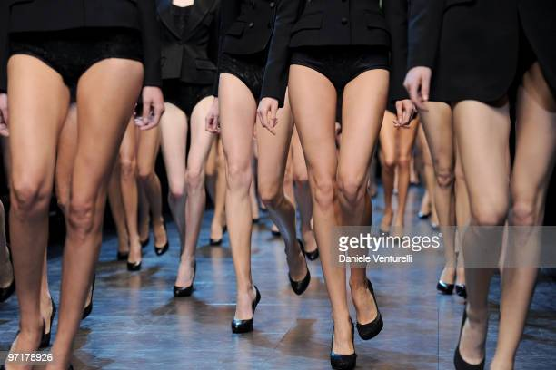 Models walk the runway during the Dolce Gabbana Milan Fashion Week Autumn/Winter 2010 show on February 28 2010 in Milan Italy