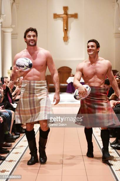 Models walk the runway during the Dressed To Kilt celebrity fashion show and cocktail party on April 05 2019 at Church of the Holy Apostles in New...