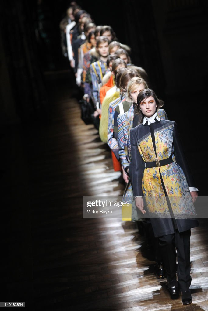 Models walk the runway during the Dries Van Noten Ready-To-Wear Fall/Winter 2012 show as part of Paris Fashion Week on February 29, 2012 in Paris, France.
