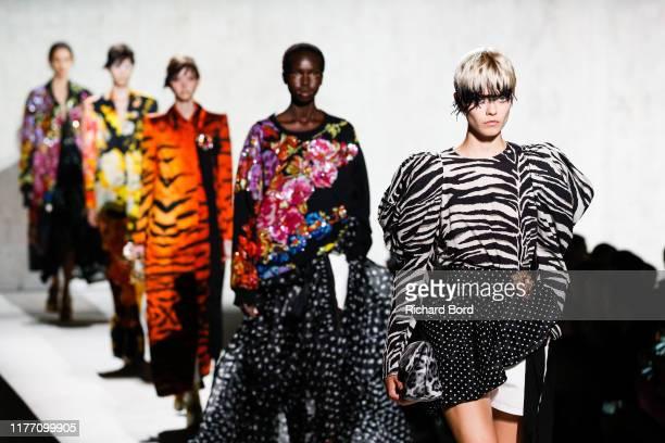 Models walk the runway during the Dries Van Noten Womenswear Spring/Summer 2020 show at Opera Bastille as part of Paris Fashion Week on September 25,...
