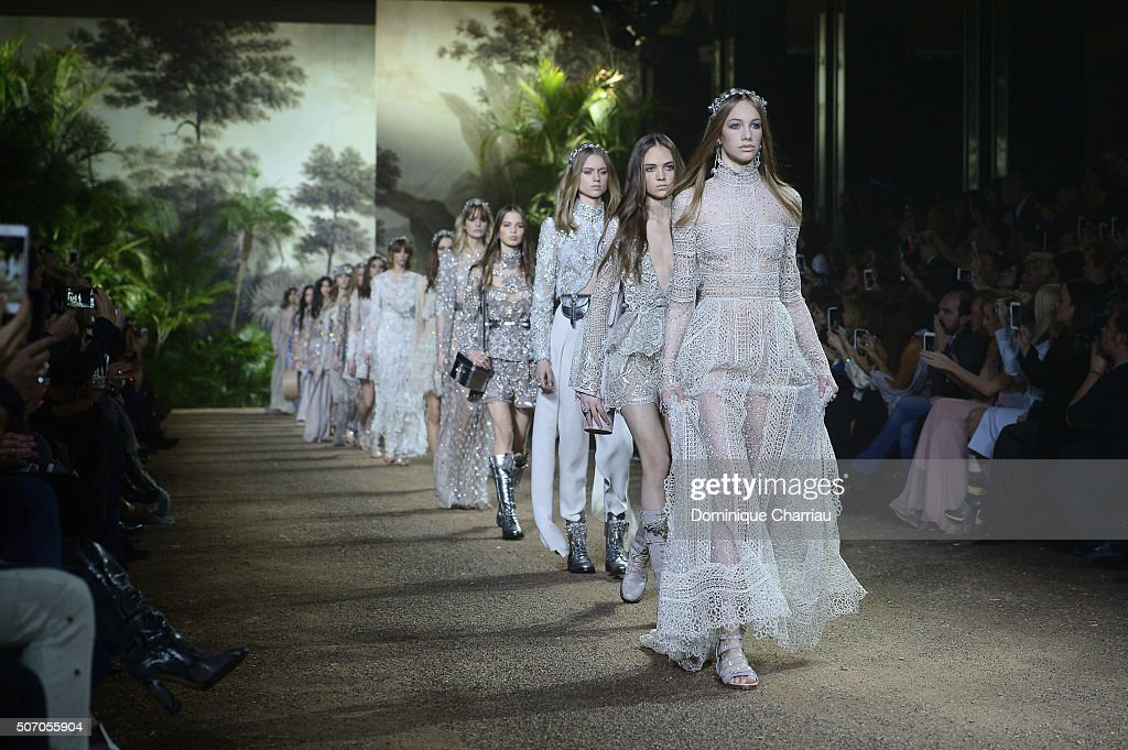 Models walk the runway during the Elie Saab Haute Couture Spring Summer 2016 show as part of Paris Fashion Week on January 27, 2016 in Paris, France.