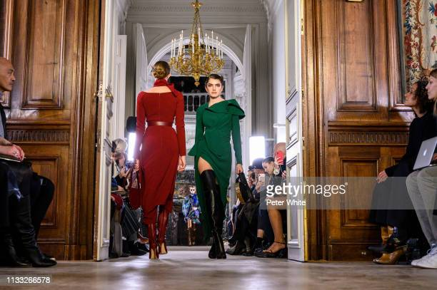 Models walk the runway during the Elie Saab show as part of the Paris Fashion Week Womenswear Fall/Winter 2019/2020 on March 02, 2019 in Paris,...