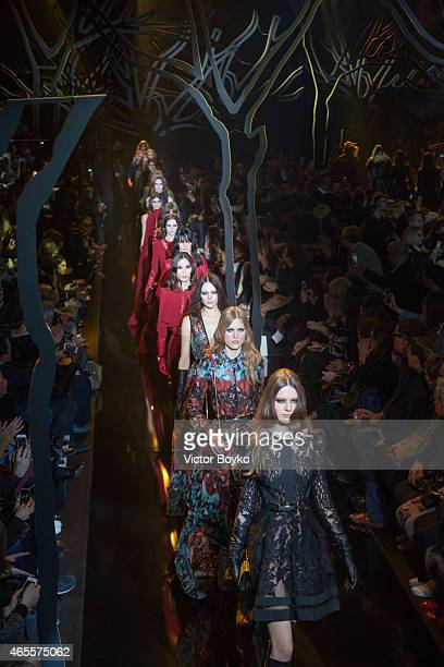 Models walk the runway during the Elie Saab show as part of the Paris Fashion Week Womenswear Fall/Winter 2015/2016 on March 7 2015 in Paris France