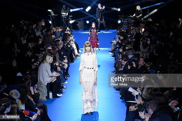 Models walk the runway during the Elie Saab show as part of the Paris Fashion Week Womenswear Fall/Winter 2016/2017 on March 5 2016 in Paris France
