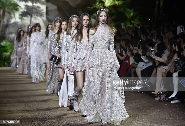 Models walk the runway during the Elie Saab Spring Summer 2016 show as part of Paris Fashion Week on January 27 2016 in Paris France