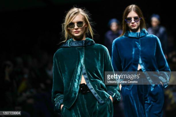 Models walk the runway during the Emporio Armani fashion show as part of Milan Fashion Week Fall/Winter 2020-2021 on February 21, 2020 in Milan,...