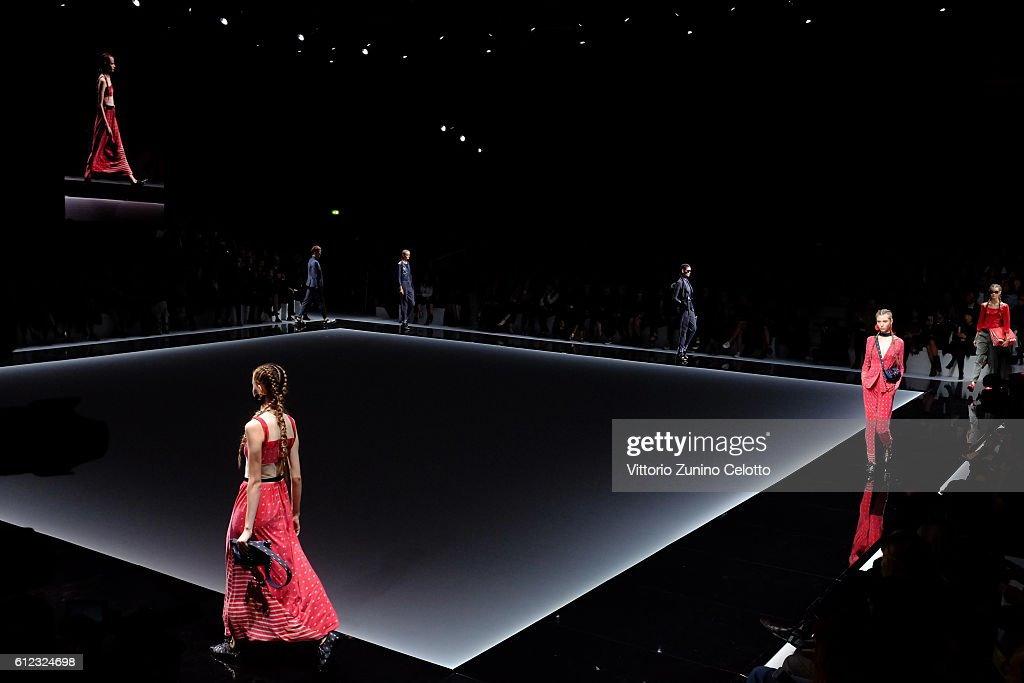 Models walk the runway during the Emporio Armani show as part of the Paris Fashion Week Womenswear Spring/Summer 2017 on October 3, 2016 in Paris, France.