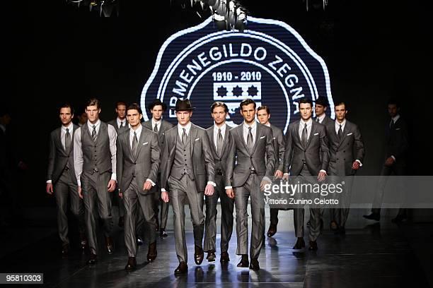 Models walk the runway during the Ermenegildo Zegna Milan Menswear Autumn/Winter 2010 show on January 16 2010 in Milan Italy
