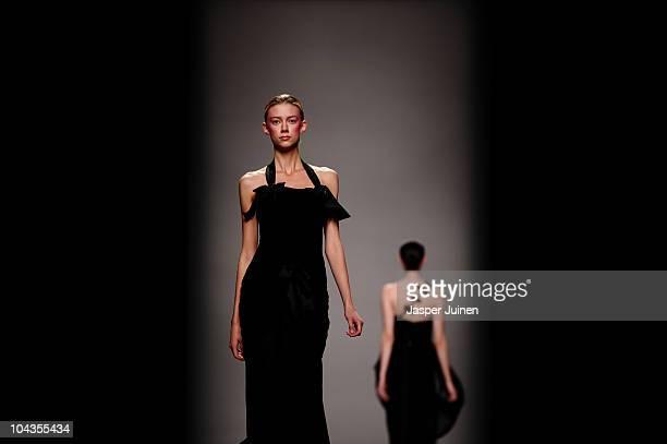 Models walk the runway during the fashion designer Lydia Delgado show during Cibeles Madrid Fashion Week S/S 2011 at Ifema on September 22 2010 in...