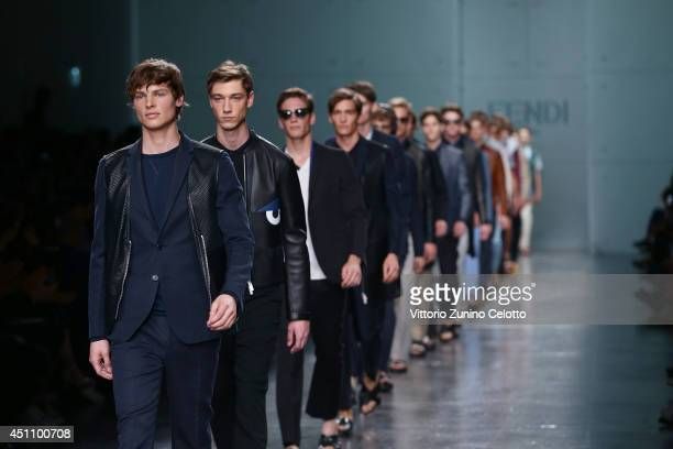 Models walk the runway during the Fendi show as part of Milan Fashion Week Menswear Spring/Summer 2015 on June 23 2014 in Milan Italy