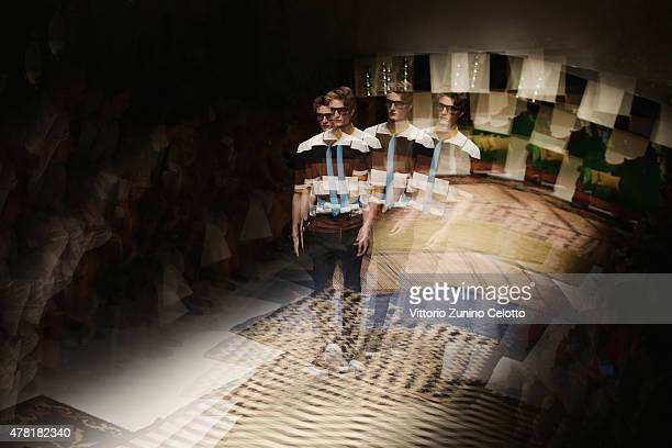 Models walk the runway during the Ferragamo show as part of Milan Men's Fashion Week Spring/Summer 2016 on June 21 2015 in Milan Italy