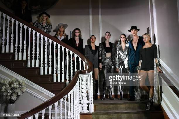 Models walk the runway during the finale at ROSSI TUXEDO New York Fashion Week Fall 2020 Collection at Consulate of Argentina on February 11 2020 in...