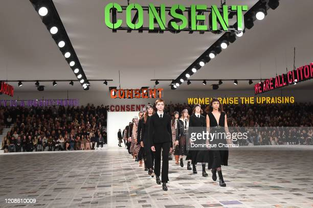 Models walk the runway during the finale at the Dior show as part of the Paris Fashion Week Womenswear Fall/Winter 2020/2021 on February 25, 2020 in...