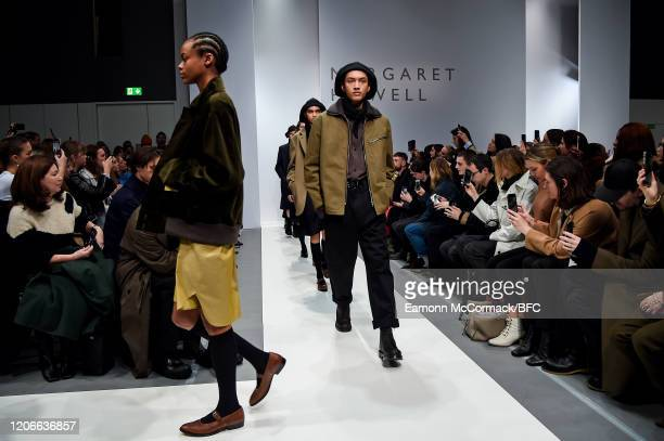 Models walk the runway during the finale at the Margaret Howell show during London Fashion Week February 2020 on February 16, 2020 in London, England.