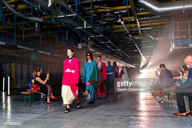 Models walk the runway during the finale at the Pronounce show during LFW September 2020 at Printworks on September 21, 2020 in London, England.