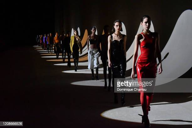 Models walk the runway during the finale at the Saint Laurent show as part of the Paris Fashion Week Womenswear Fall/Winter 2020/2021 on February 25...