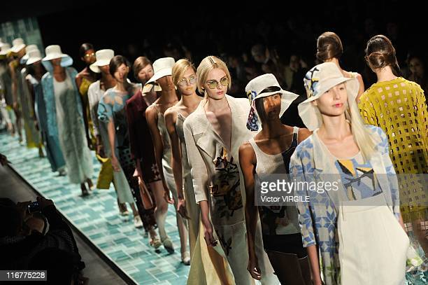 Models walk the runway during the finale during the Maria Bonita Extra show of the Ready to Wear Spring/Summer 2012 collection as part of the Sao...