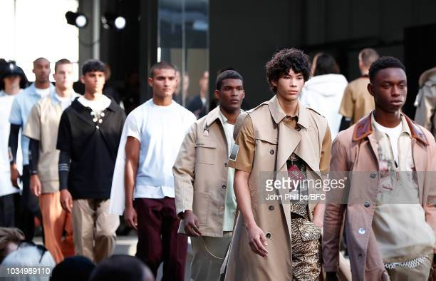 Models walk the runway during the finale of the Burberry show during London Fashion Week September 2018 at The South London Mail Centre on September...