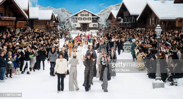 Models walk the runway during the finale of the Chanel show as part of the Paris Fashion Week Womenswear Fall/Winter 2019/2020 on March 5 2019 in...