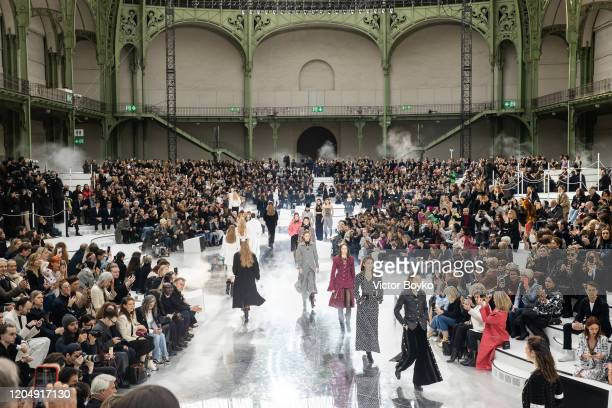 Models walk the runway during the finale of the Chanel show as part of the Paris Fashion Week Womenswear Fall/Winter 2020/2021 on March 3, 2020 in...
