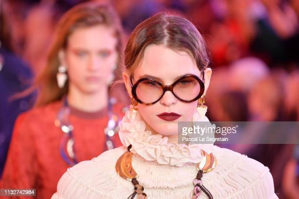 Models walk the runway during the finale of the Chloe show as part of the Paris Fashion Week Womenswear Fall/Winter 2019/2020 on February 28, 2019 in...