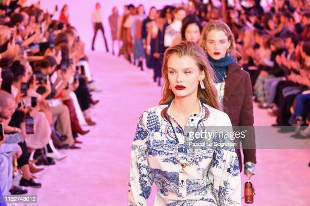 Models walk the runway during the finale of the Chloe show as part of the Paris Fashion Week Womenswear Fall/Winter 2019/2020 on February 28 2019 in...