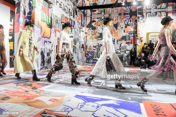 Models walk the runway during the finale of the Christian Dior show as part of the Paris Fashion Week Womenswear Fall/Winter 2018/2019 on February...