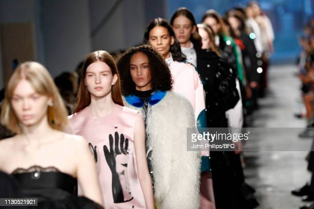 Models walk the runway during the finale of the Christopher Kane show during London Fashion Week February 2019 on February 18 2019 in London England