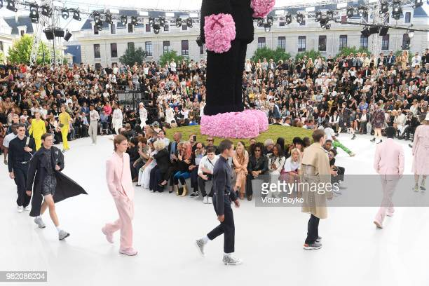Models walk the runway during the finale of the Dior Homme Menswear Spring/Summer 2019 show as part of Paris Fashion Week on June 23 2018 in Paris...