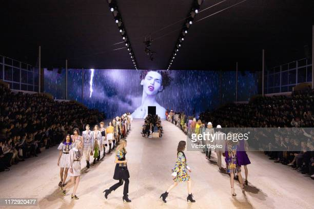 Models walk the runway during the finale of the Louis Vuitton Womenswear Spring/Summer 2020 show as part of Paris Fashion Week on October 1, 2019 in...