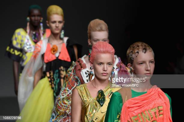 Models walk the runway during the finale of the Matty Bovan Show during London Fashion Week September 2018 at The BFC Show Space on September 14 2018...