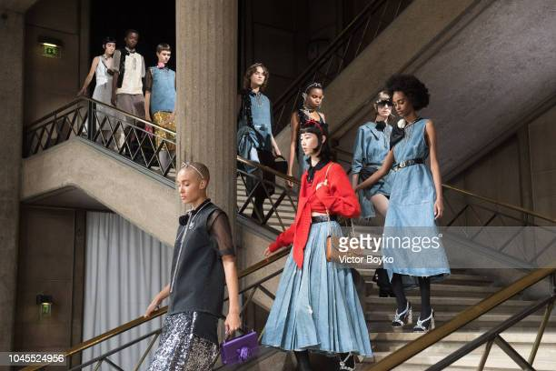 Models walk the runway during the finale of the Miu Miu show as part of the Paris Fashion Week Womenswear Spring/Summer 2019 on October 2 2018 in...