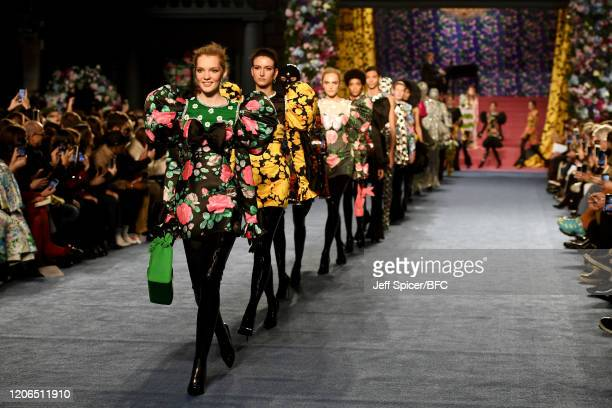 Models walk the runway during the finale of the Richard Quinn show during London Fashion Week February 2020 on February 15, 2020 in London, England.
