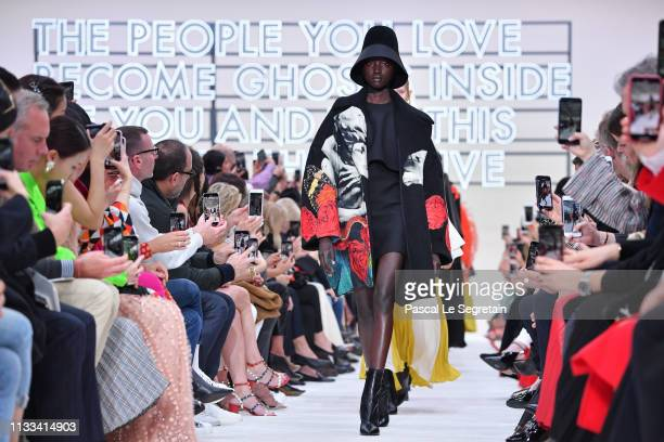 Models walk the runway during the finale of the Valentino show as part of the Paris Fashion Week Womenswear Fall/Winter 2019/2020 on March 03 2019 in...