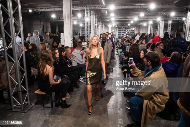 Models walk the runway during the finale of the Vetements Menswear Fall/Winter 2020-2021 show as part of Paris Fashion Week on January 17, 2020 in...