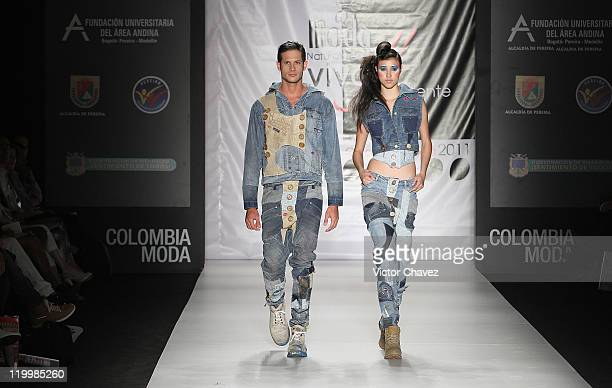 Models walk the runway during the Fundacion Universitaria Del Area Andina show on day two of Colombiamoda 2011 at Plaza Mayor on July 26 2011 in...
