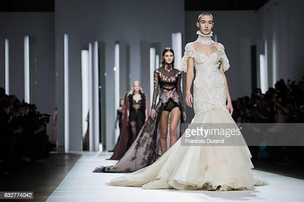 Models walk the runway during the Galia Lahav Spring Summer 2017 show as part of Paris Fashion Week on January 26 2017 in Paris France
