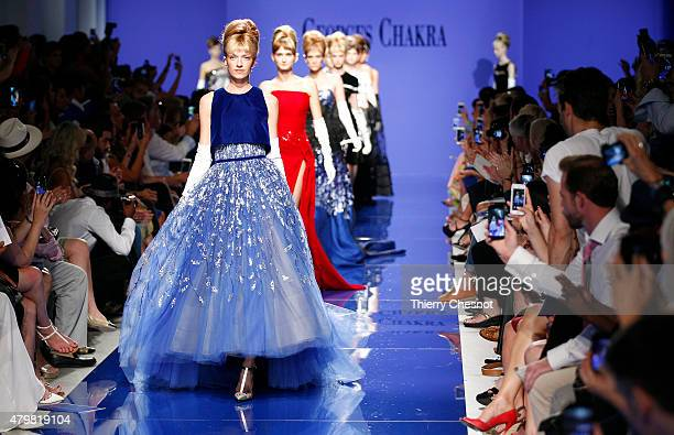 Models walk the runway during the Georges Chakra show as part of Paris Fashion Week Haute Couture Fall/Winter 2015/2016 on July 7 2015 in Paris France