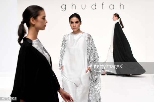 Models walk the runway during the Ghudfa Presentation at Fashion Forward March 2017 held at the Dubai Design District on March 24 2017 in Dubai...