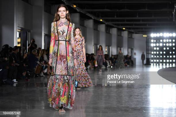 Models walk the runway during the Giambattista Valli show as part of the Paris Fashion Week Womenswear Spring/Summer 2019 on October 1 2018 in Paris...