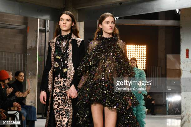 Models walk the runway during the Giambattista Valli show as part of the Paris Fashion Week Womenswear Fall/Winter 2018/2019 on March 5, 2018 in...