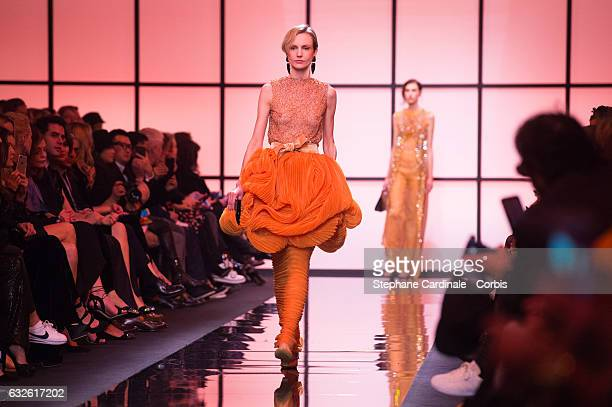 Models walk the runway during the Giorgio Armani Prive Spring Summer 2017 show as part of Paris Fashion Week on January 24, 2017 in Paris, France.