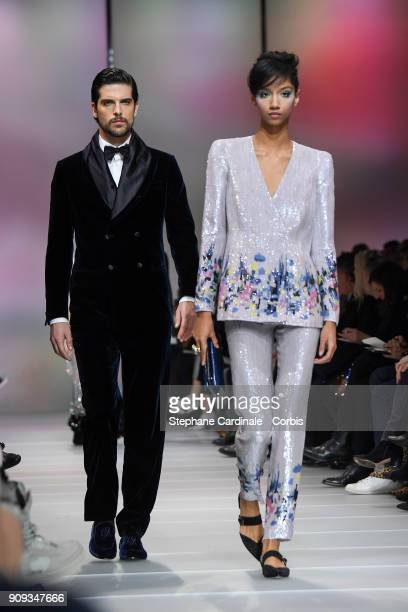 Models walk the runway during the Giorgio Armani Prive Spring Summer 2018 show as part of Paris Fashion Week on January 23 2018 in Paris France