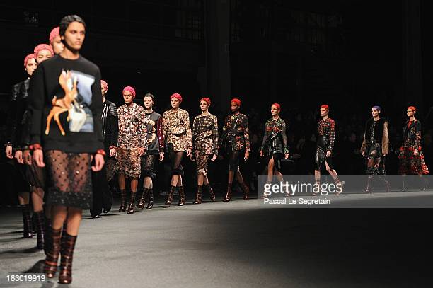 Models walk the runway during the Givenchy Fall/Winter 2013 Ready-to-Wear show as part of Paris Fashion Week on March 3, 2013 in Paris, France.