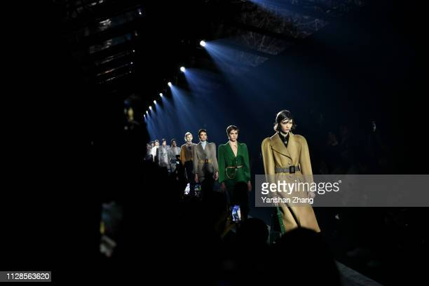 Models walk the runway during the Givenchy show as part of the Paris Fashion Week Womenswear Fall/Winter 2019/2020 on March 3 2019 in Paris France