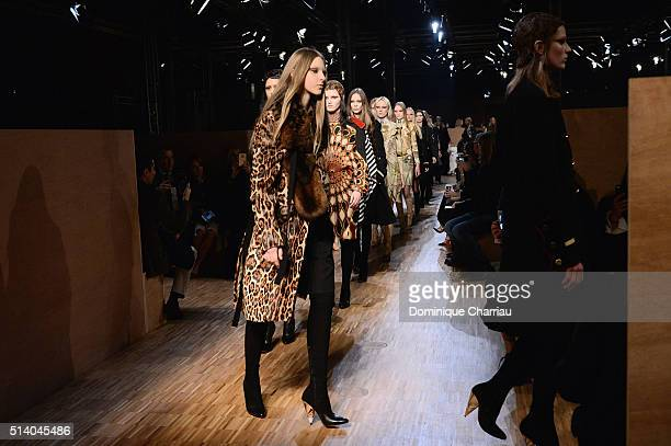 Models walk the runway during the Givenchy show as part of the Paris Fashion Week Womenswear Fall/Winter 2016/2017 on March 6 2016 in Paris France