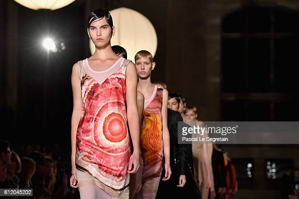 Models walk the runway during the Givenchy show as part of the Paris Fashion Week Womenswear Spring/Summer 2017 on October 2 2016 in Paris France